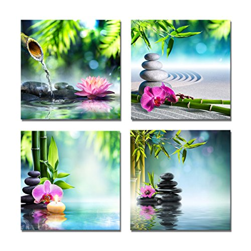 Yang Hong Yu Canvas Prints Stones Flowers and Bamboo on Water SPA Theme Warm-toned Photo on Canvas Wall Art Framed Modern Decor Paintings Giclee Artwork for Home Decoration 12x12inch Bamboo Canvas