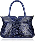 PIJUSHI Designer Floral Handbag for Women Top Handle Satchel Bags Cheongsam Shoudler Bag (22332 Blue)