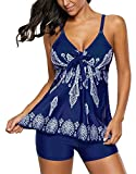 Sliver Color Womens Straps Printed Tankini Top Swimsuits with Swim Shorts Blue L(US:12-14)