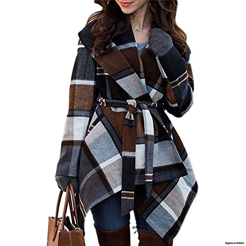 Chicwish Women's Turn Down Shawl Collar Open Front Long Sleeve Check Asymmetric Hemline Coat, Brown, XX-Small (Transit Jacket Down)