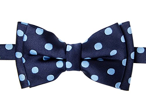 a Dots Woven Microfiber Pre-tied Boy's Bow Tie - Navy Blue with Light Blue Dots - 4 - 7 years ()