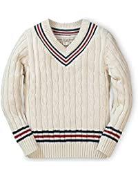 Boys' Long Sleeve V-Neck Cricket Sweater