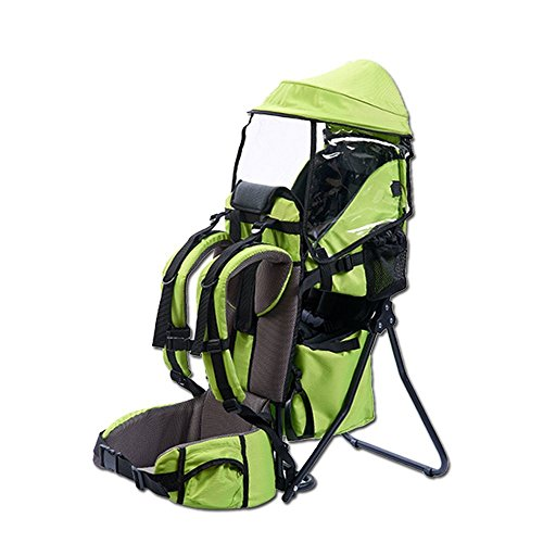 Baby Carrier, TECKCOOL Baby Toddler Backpack Cross country Carrier w/Stand Child Kid Sunshade Visor,Upgraded foot straps,Holds up to 50 Pound Ideal for Children Between 6 months-4years old (green) ()