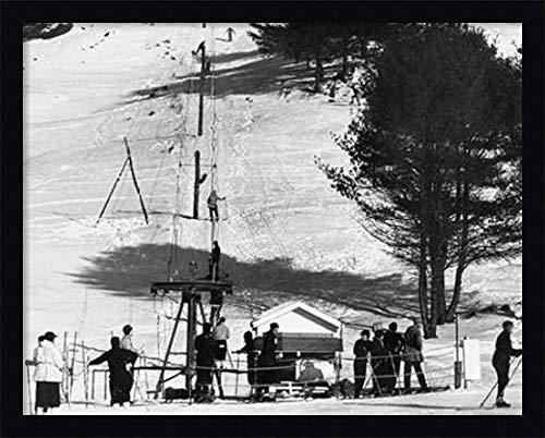 Framed Canvas Wall Art Print | Home Wall Decor Canvas Art | Ski Tow - Hanover, New Hampshire, 1936 by Arthur Rothstein | Modern Decor | Stretched Canvas Prints