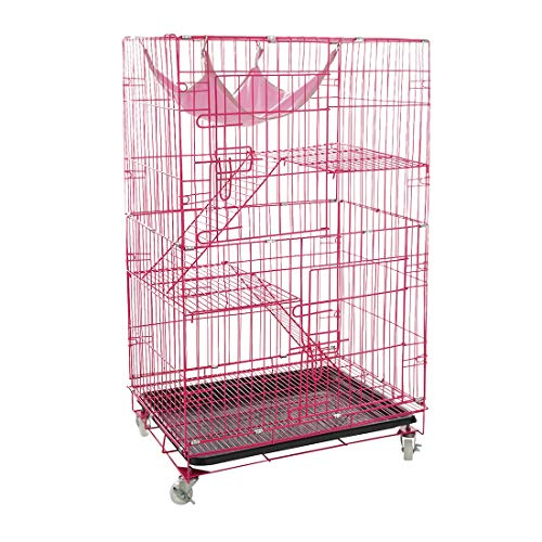 AVEEN 3-Tier Cat Cage Playpen Box Kennel Crate with 2 Front Doors & Free Hammock – 40 x 24 x 17 Inches(Pink)