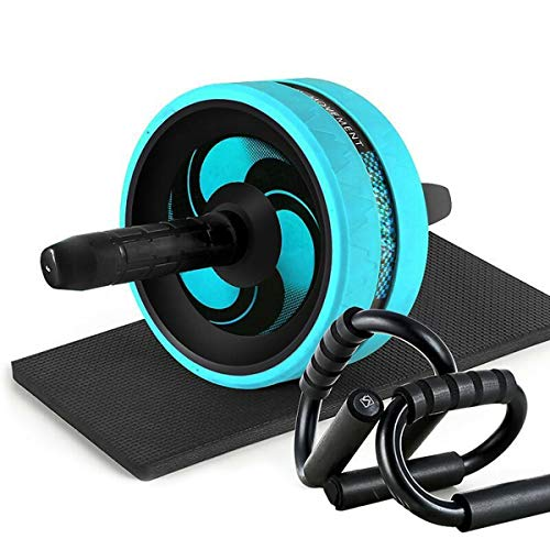 Nwn Ab Wheel, Waist Buttocks Muscle Compact Exercise Equipment Automatic Rebound with Knee Mat Push Up Support Shelf