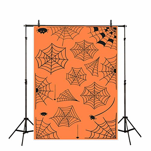 Funnytree 5X7ft Halloween Backdrops for Photography Spider Web Cobweb Cartoon Orange Polyester Background Party Decoration Banner Photo Studio Props Phtobooth]()