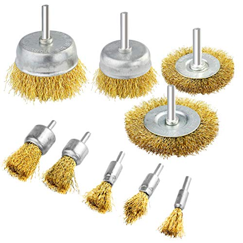 - 9 Packs Wire Drill Brush Sets, KKTOP 9 Sizes Brass Coated Wire Brush for Rust Paint Corrosion Removal Polishing
