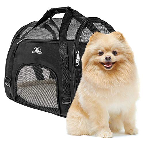 Pet Union Pet Carrier for Small Dogs, Cats, Puppies, Kittens, Pets (up to 10 lbs) Collapsible, Travel Friendly, Cozy and Soft Dog Bed, Carry Your Pet Safely and Comfortably (16.9 x 8.3 x 11 Inch)