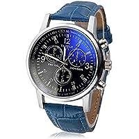 Zaidern 2019 New Men Dress Watch Men's Luxury Fashion Faux Leather Band Mens Blue Ray Glass Quartz Analog Watches Retro Design Classical Wristwatch