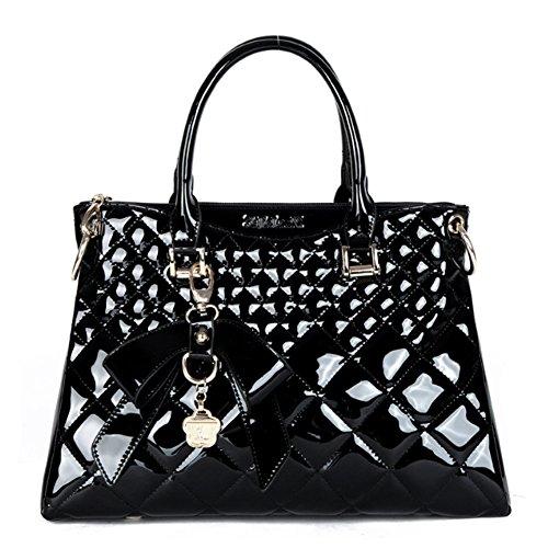 main décontractés portable SANSJI Noir Lingge mode cuir en luxe épaule main sacs sac à verni atmosphérique à bandoulière qqU7FS