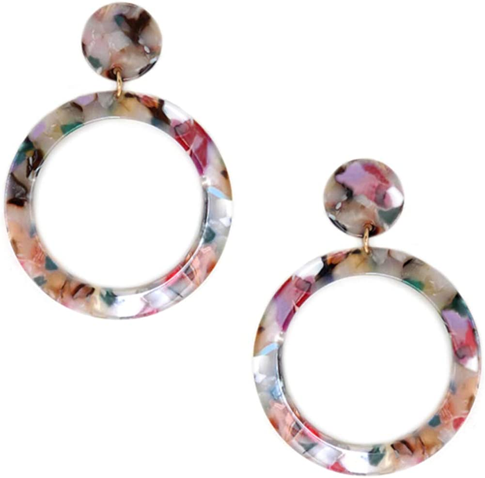 Multicolored Acetate Sliver  French Hook Earrings