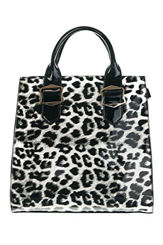 (lcolette Leopard Print Double Top Handle Tote with strap os107 (black))