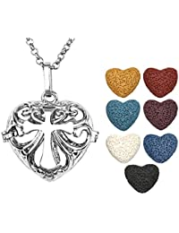 JOVIVI Antique Silver Aromatherapy Essential Oil Diffuser Necklace Cross Heart Locket Pendant with 7 Dyed Multi-Colored...