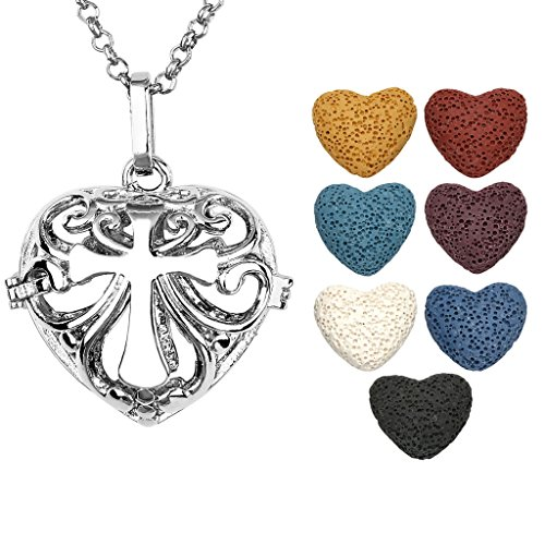 JOVIVI Antique Silver Aromatherapy Essential Oil Diffuser Necklace Cross Heart Locket Pendant with 7 Dyed Multi-Colored Lava Stones Antique Locket Cross