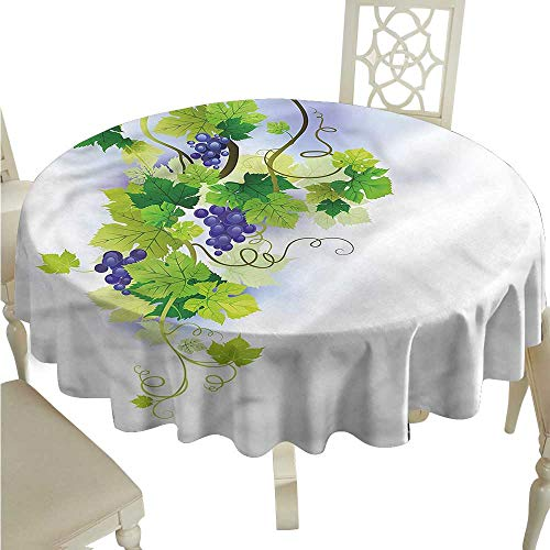 White Round Tablecloth Vineyard,Swirled Grape Branches,for Accent Table