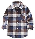 Welity Boys & Girls Long Sleeve Button Down Plaid Flannel Shirt