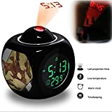 Projection Alarm Clock Wake Up Bedroom with Data and Temperature Display Talking Function, LED Wall / Ceiling Projection, Dinosaur-366.469_Chasmosaurus belli ceratopsian dinosaur skull