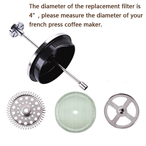 """French Press Filters, 4"""" Diameter, Food Grade 18/8 (304) Stainless Steel mesh, Replacement Filters For French Press Coffee Maker, Easy to Install and Clean (4 Pack) by apgarden (Image #1)"""