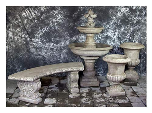 Fleur de Lis Garden Ornaments LLC Ravello Two Tier FDL Finial with Italian Palazzo Urns Package Number 1017 ()