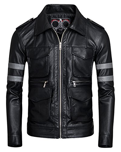 Fairylinks Stand Collar Mens Leather Jackets Motocycle PU Windbreaker Black