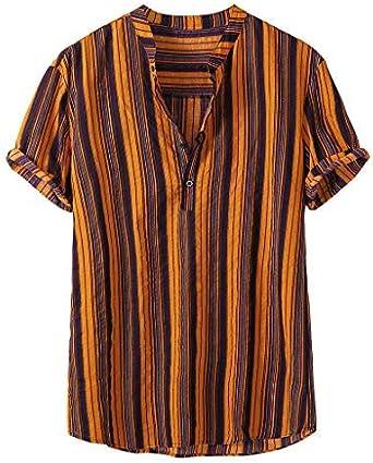 Berimaterry Camisa Lino Hawaiana Hombre Algodón de Lino Impresión de Hawaii Manga Corta Camisas Funky Blusa Funky Camisa Hawaiana Señores Bolsillo Delantero Impresión de Hawaii Playa Camisas: Amazon.es: Ropa y accesorios