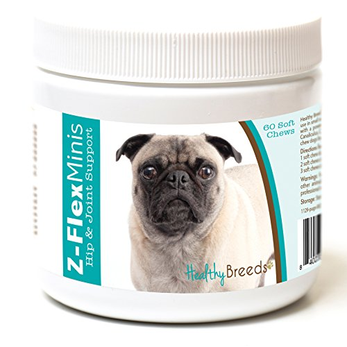 Healthy Breeds Z Flex Minis Dog Hip & Joint Supplement Soft Chews For Pug, Brown - Over 100 Breeds - Small Breed Formula - Glucosamine Chondroitin Msm Omega - 60 Count ()