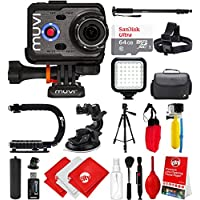 Veho Muvi K-Series K-2 NPNG 1080p 16MP HD WiFi Waterproof Action Camera with 64GB + Monopod + Stabilizing Hand Grip + LCD + Carrying Bag + Floating Grip + Head Strap + Tripod Mount VCC-006-K2NPNG