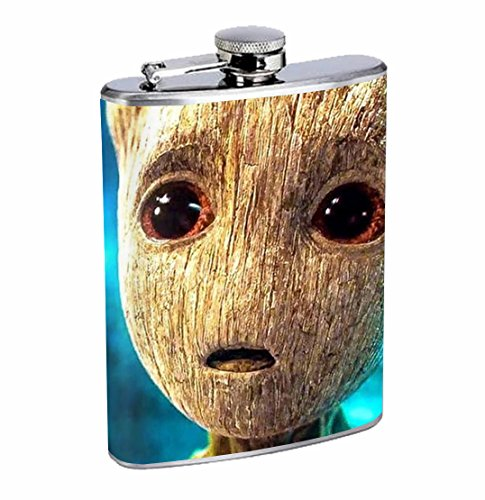 Groot Scifi Comic Book Movie Guardians 8oz Stainless Steel Flask Drinking Whiskey by Customized Collectables