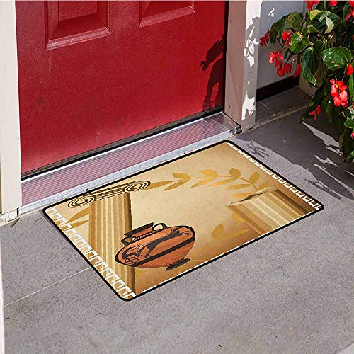 Antiques Persian Vase - Gloria Johnson Toga Party Universal Door mat Antique Greek Columns Vase Olive Branch Hellenic Heritage Icons Door mat Floor Decoration W29.5 x L39.4 Inch Pale Brown Cinnamon White