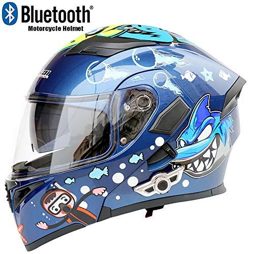 - CAJUXI Great White Shark Motorcycle Bluetooth Helmet, Double Lens Anti-Fog Anti-Glare Flip Travel Multi-Function Full Face Helmet, Dot Certification,M57cm~58cm