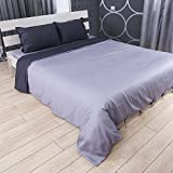 Cloudy Hugs  Bed Linen Set – 100% Natural Textile: Sateen – & Comfortable for Sweet Dreams - 5 pc Set - Twin, Dark Gray/Light Gray