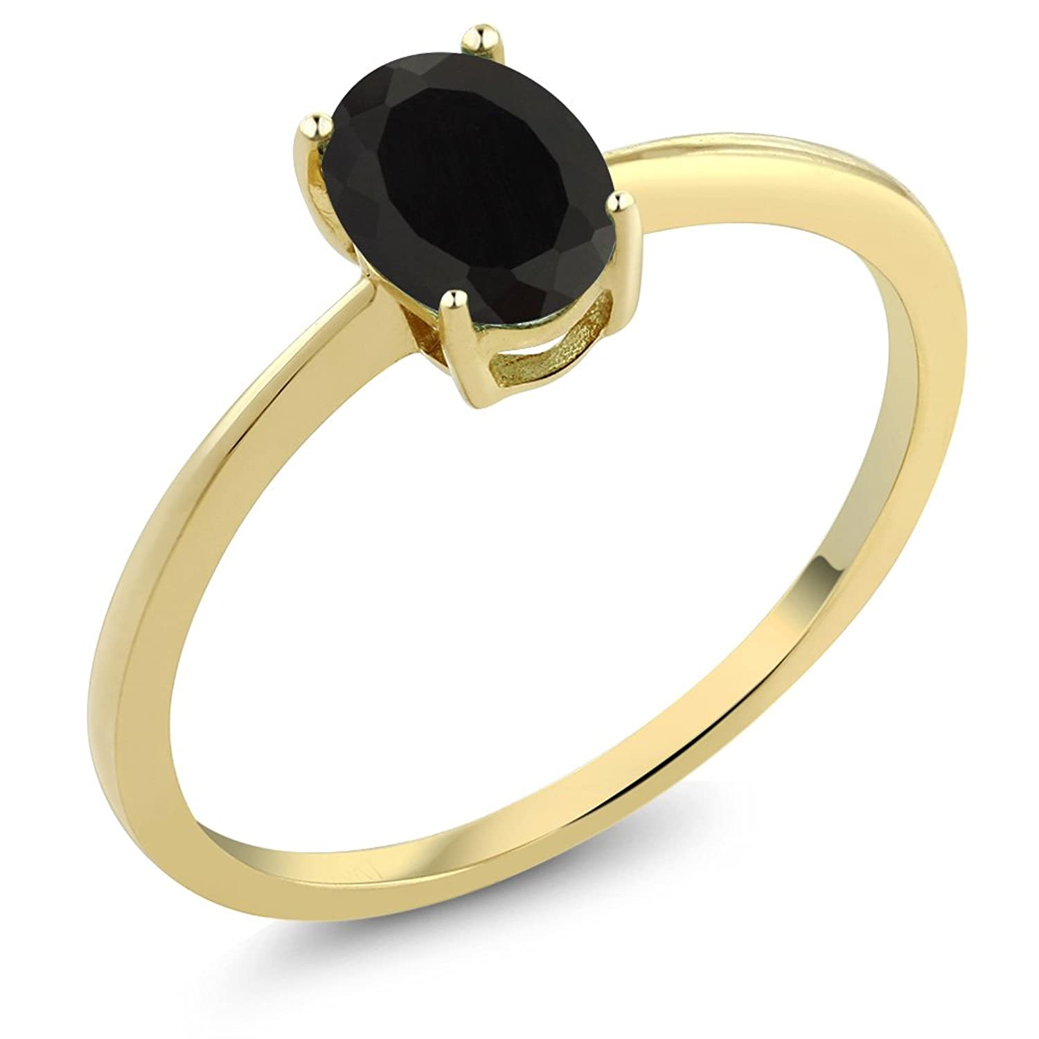 0.80 Ct Oval Black Onyx 10K Yellow Gold Solitaire Engagement Ring (Sizes 5,6,7,8,9)