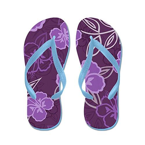 Cafepress Hawaiiaans Hibiscus Patroon Paars - Flip Flops, Grappige String Sandalen, Strand Sandalen Caribbean Blue