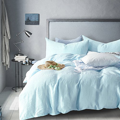 Merryfeel 100% Linen Duvet Cover Set - Full/Queen - Light Blue