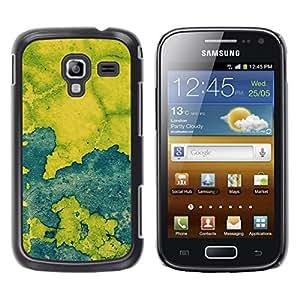 TopCaseStore / la caja del caucho duro de la cubierta de protección de la piel - Blue Map Paint Rustic Chipped Leaf - Samsung Galaxy Ace 2 I8160 Ace II X S7560M