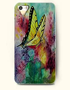 Phone Case For iPhone 5 5S Yellow Butterfly - Hard Back Plastic Case / Oil Painting / OOFIT Authentic