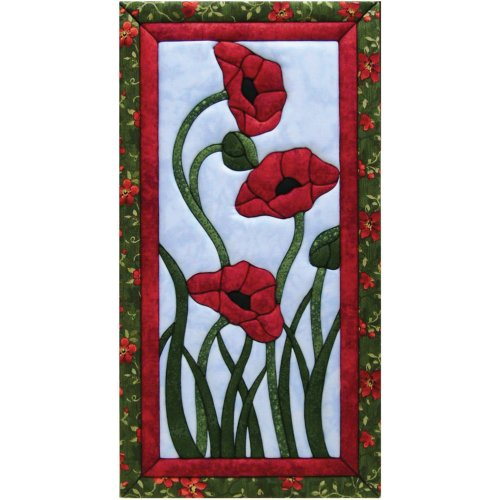 Quilt Magic 10-Inch by 19-Inch Trio Of Poppies Kit by Quilt Magic