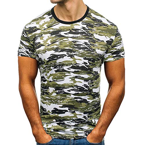 YAYUMI Men's Prined Casual Round Neck Short Sleeve Shirt Top Blouse Army Green ()