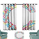 alisoso Letter C,Boys Bedroom Backout Curtains Musical Notes Keys Major Minor Notes Vibrant Colored Image with Capital C Letter 100''x108'' Home Decor Fashion Backout Draperies