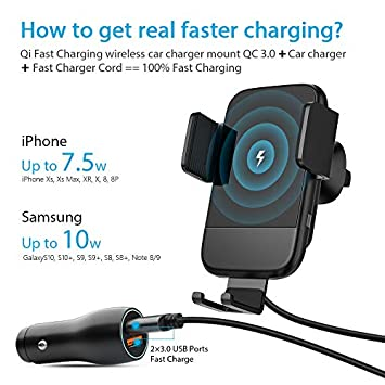 Wireless Car Charger, CTYBB Qi Auto-Clamping Air Vent Dashboard Car Phone Holder QC3.0 Car Charger, 10W Compatible for Galaxy S10 S10 S9,Charging for iPhone 11 11 Pro 11 Pro Max iPhone Xs Xs Max XR