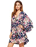 Milumia Women's Floral Print Front Cross Lace up Deep V-Neck Flare Sleeve Loose Short Mini Dress Purplish Blue L