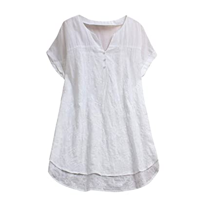 e4b04fa6108 Amazon.com: AIMTOPPY Women's Linen Tops Summer Lace V Neck Loose ...