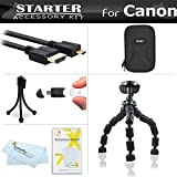 Starter Accessories Kit For Canon PowerShot ELPH 340 HS, ELPH 360 HS Digital Camera Includes Case + 7 Flexible Tripod + Micro HDMI Cable + Screen Protectors + Mini TableTop Tripod + More