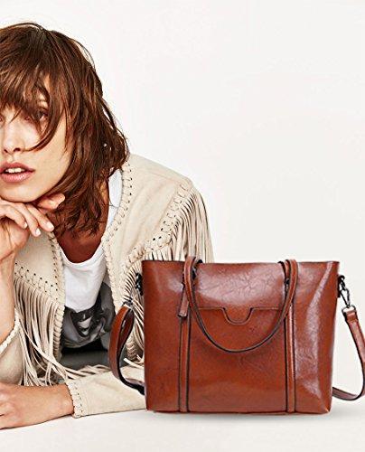 Tote Large New Shoulder Handbag NICOLE PU Purse Brown Women Bag Bag Crossbody Dark Bag Light amp;DORIS Leather Brown vqSggE