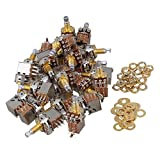 Mxfans 60PCS A500k Push Pull Guitar Potentiometer W/18mm Coarse Knurled Shaft Gold