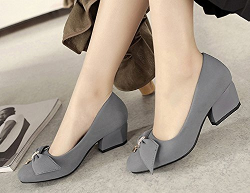 Pumps Dress Gray To Womens Toe Bowknot Work Wear Shoes Professional Slip Medium Heels Square Aisun Block On IfTwqw6