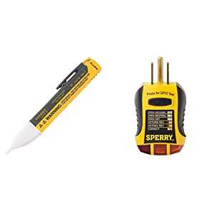 Fluke 1AC II VoltAlert Non-Contact Voltage Tester & Sperry Instruments GFI6302 GFCI Outlet/Receptacle Tester, Standard 120V AC Outlets, 7 Visual Indication/Wiring Legend, Yellow & Black