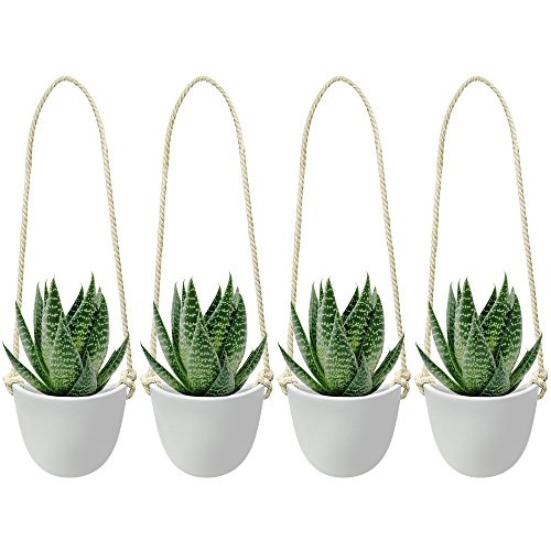 Nellam Ceramic Hanging Planters - Modern White Porcelain Containers - 4 pcs Decorative Pots for Indoor & Outdoor Use - Wall Decor Vase for Garden Flowers, Herbs, Plants and Succulents (Patio Outdoor Wall Decor Ideas)