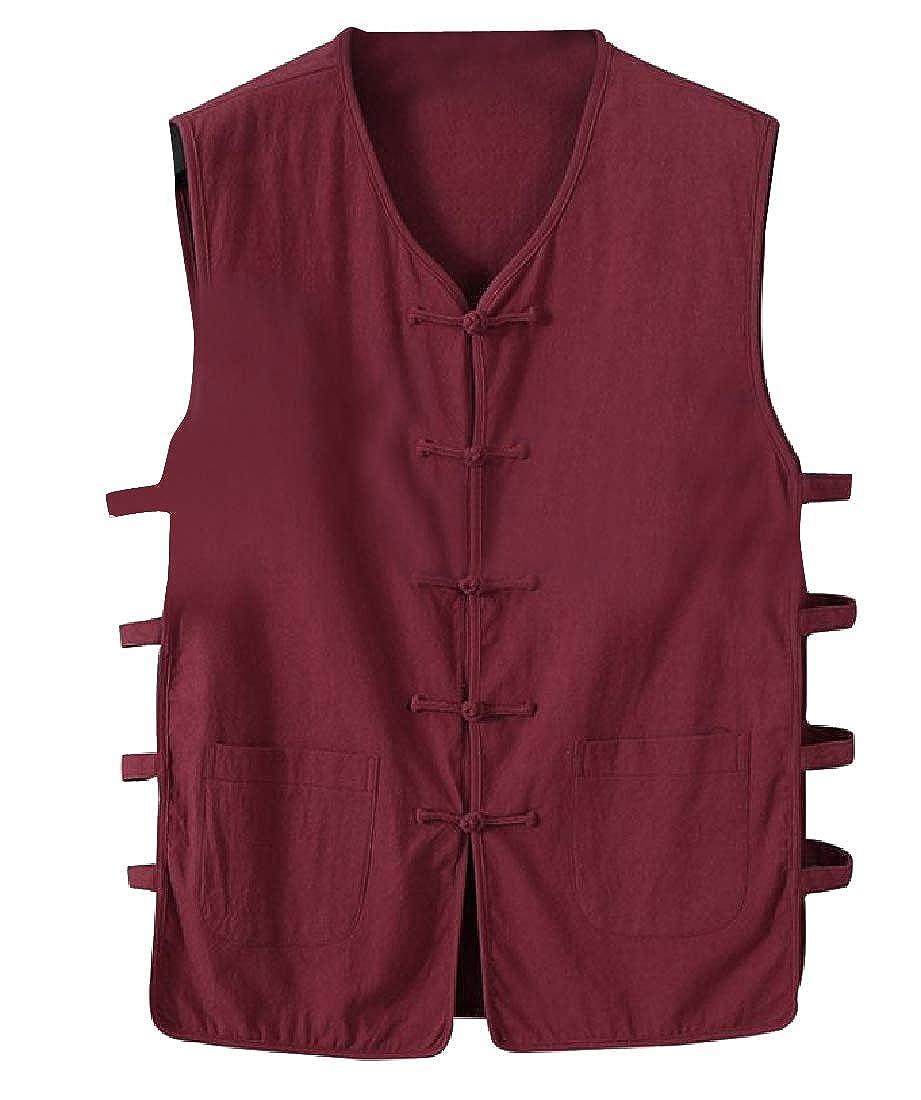 Andopa Men Gilet Linen Blend Natural Style Down Vest with Pockets